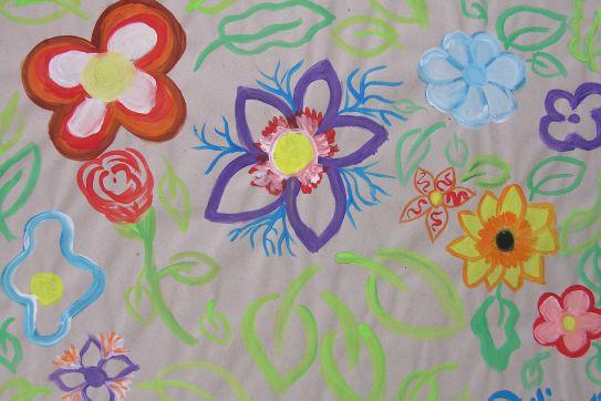 aktionskunst kindermalen kinderbild blumen gemalt von julia 12 jahre. Black Bedroom Furniture Sets. Home Design Ideas